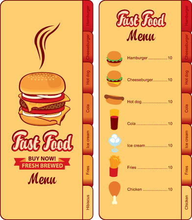 internet cafe: menu for fast food and ice cream Illustration