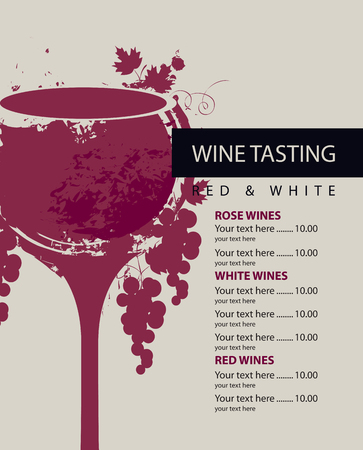 menu for wine tasting patterned glass and grapes