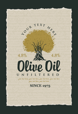 fruit and vegetable: labels for olive oils with olive tree