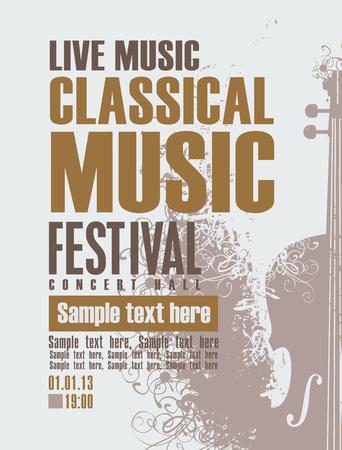 musica clasica: cartel para un concierto de música clásica con el violín