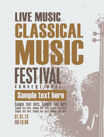 poster for a concert of classical music with violin 向量圖像