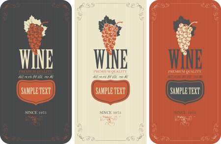 dry flowers: set of vector labels for wine with grapes
