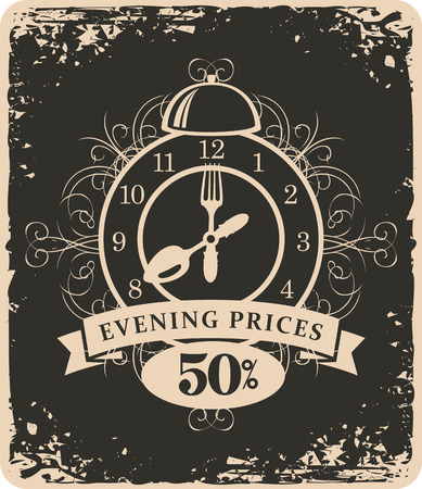 expensive food: banner advertising discount evening in a restaurant with a clock and cutlery in retro style Illustration