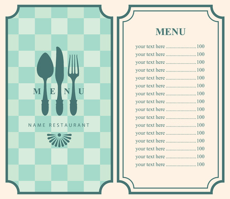 fork and spoon: menu template with cutlery fork spoon and knife