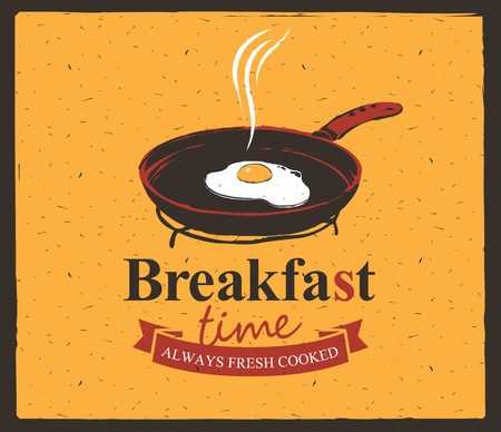 sunny side up eggs: Vector banner for breakfast time with a frying pan and fried eggs