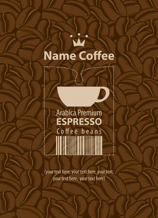 espresso: design label for coffee beans with cup Illustration