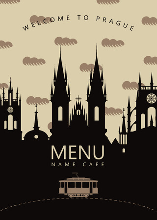 czech: menu for the restaurant with the urban landscape of Prague and the old tram