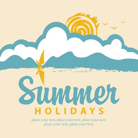 Vektor-Sommer-Banner mit Meer, Sonne und Surfer