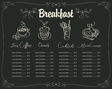 board with a breakfast menu for a restaurant with chalk drawings of dishes Illustration