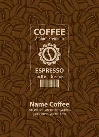 design labels for coffee beans on the background coffee grains
