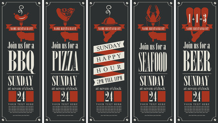hearty: set banners on the theme of barbecue, pizza,  seafood and beer
