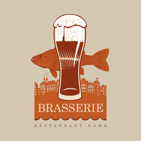 brasserie: banner with a glass of beer and a fish on a background of the old town Illustration