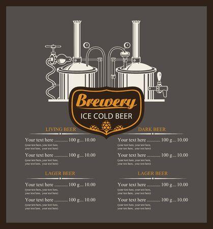 brewery: beer brewery menu list with a price