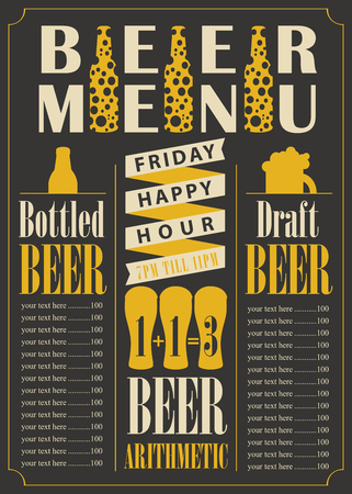 price list: menu for the pub for bottled and draft beer with price list