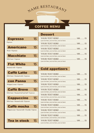 menu for the cafe with a cup of coffee with price list Illustration