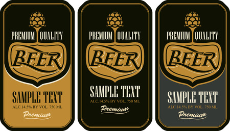 malt: set labels for beer in a retro style with malt