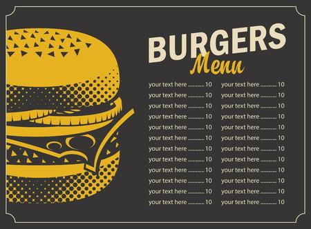 menú de hamburguesa con queso lista de precios y de imagen sobre un fondo negro en estilo retro