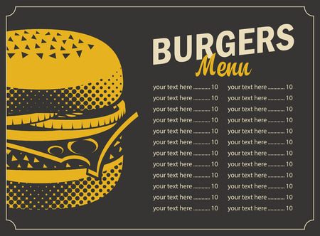 burger menu with price list and picture cheeseburger on a black background in retro style Illustration