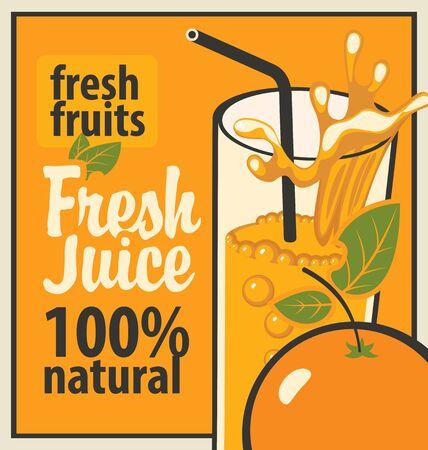 orange juice glass: Retro banner with a glass of fresh juice and splashes and orange Illustration
