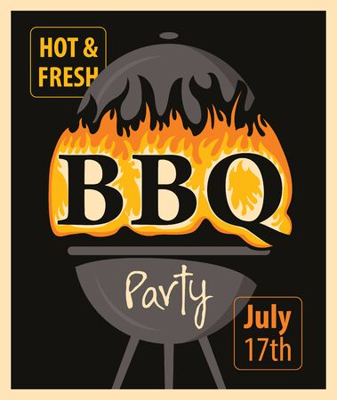 barbecue grill: banner BBQ party with barbecues and fire in retro style Illustration