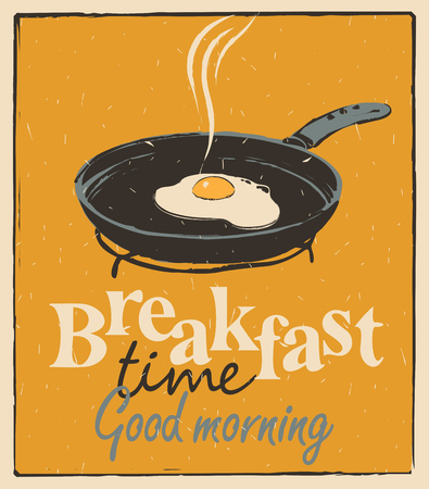 sunny side up eggs: Vector banner for breakfast time with a frying pan and fried eggs in retro style
