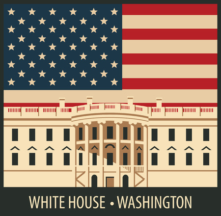 dc: vector illustration white house washington dc with flag