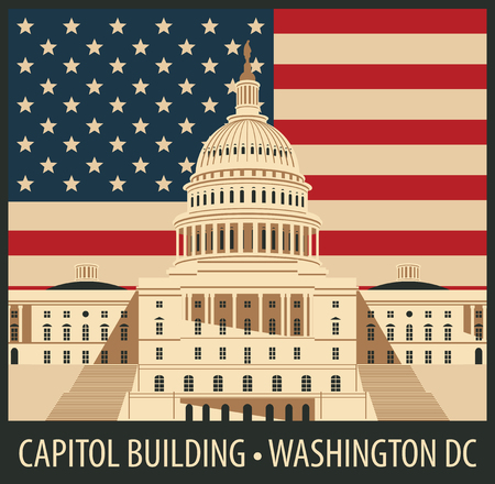 us congress: Vector illustration Capitol Building in Washington, DC with flag Illustration