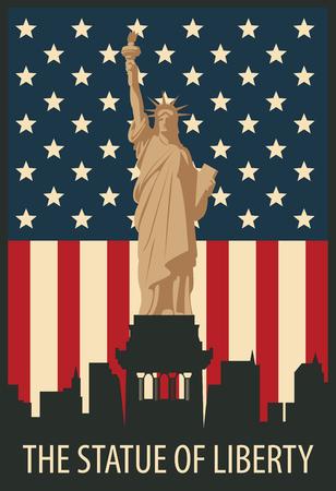 banner con la statua della Libertà a sfondo di New York negli Stati Uniti bandiera Vettoriali