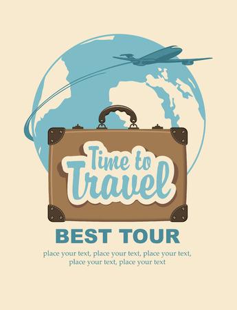 La bandera con una maleta de viaje y las palabras el tiempo de viaje, el avión de pasajeros y el planeta Tierra