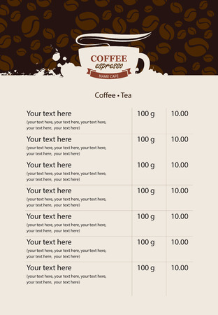 price list: menu price list for coffee beans and coffee drops