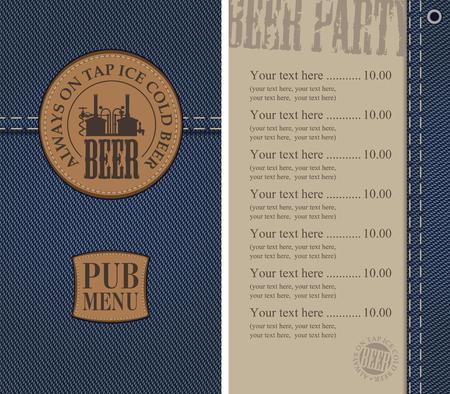 Menu for the pub in a retro style on denim Ilustração