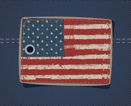 leather label: USA flag on the leather label on jeans