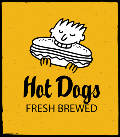 vintage cafe: vector banner with man eating hot dog