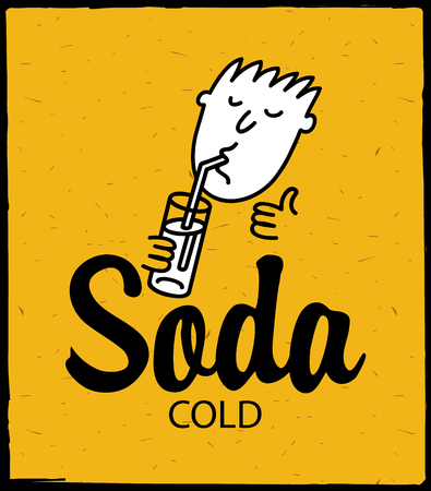 man drinking water: vector banner with man drinking cold soda
