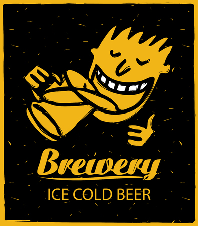brasserie: Logo for brewery with human figures, drinking beer Illustration
