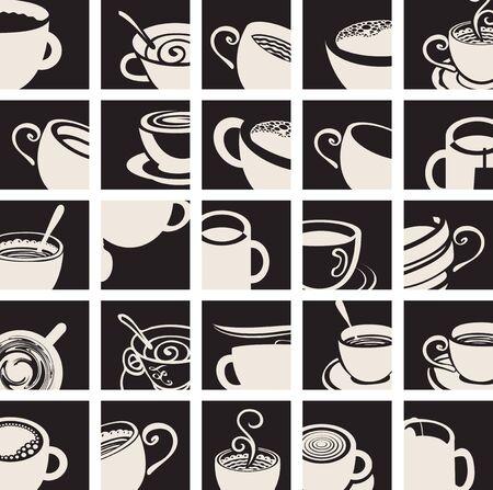 chicchi di caff?: Collezione di icone vettoriali Tazza di caffè e tazza di tè