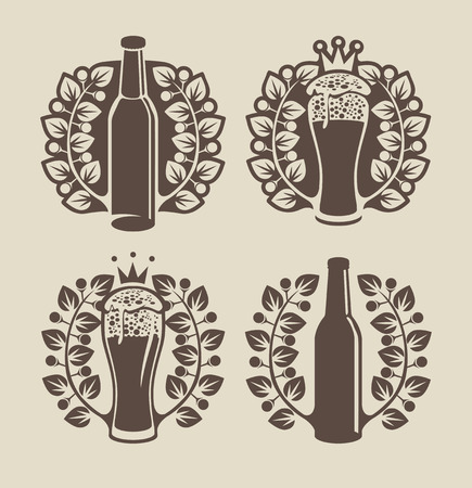 brasserie: set banners on topic with beer glasses, bottle and laurel wreath