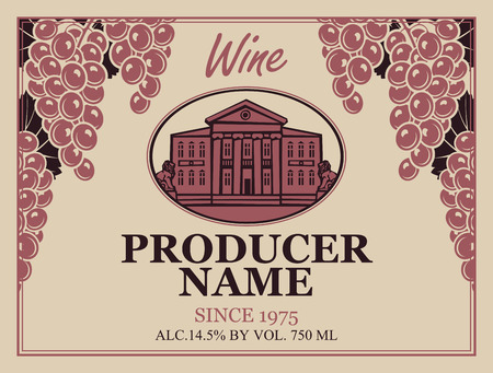 modern house: wine label in retro style image of a house with statues of lions and grapes