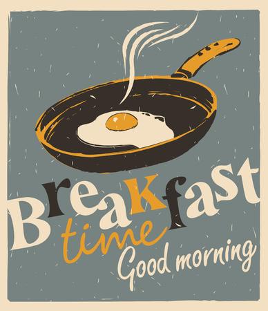 Vettore della bandiera per la prima colazione con una padella e uova fritte in stile retrò