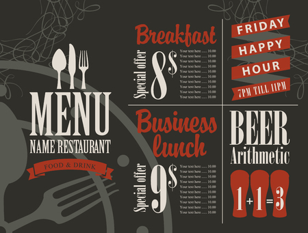 restaurant bar: menu for a cafe or restaurant with bar price list