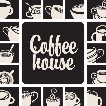 coffee house: banner for coffee house with picture cups on a black background Illustration