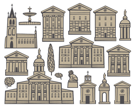 european cities: set of drawings of houses and churches in European cities