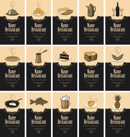 conjunto de tarjetas de visita con diferente sirve comida y bebidas