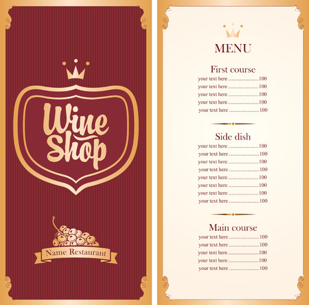 white wine: menu for wine shop with a price list and a bunch of grapes in red and gold color Illustration
