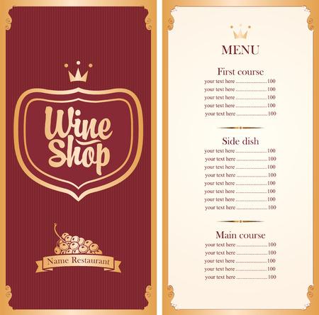 bebida: menu para loja de vinhos com uma lista de preços e um cacho de uvas na cor vermelha e ouro
