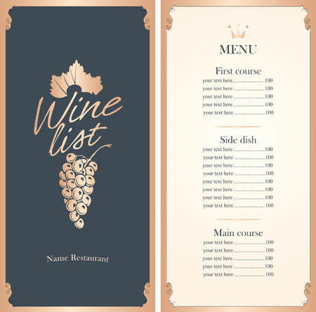 wine list with a bunch of grapes with price list