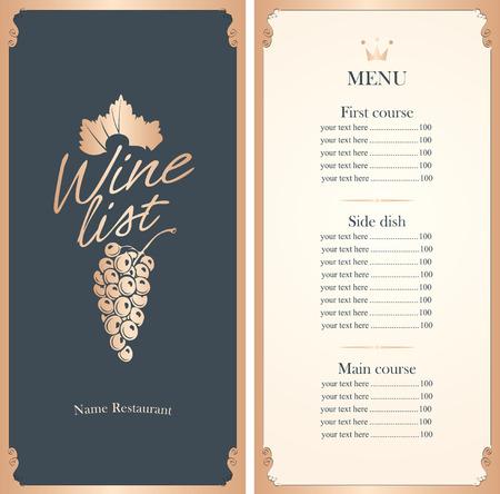 Weinkarte mit einem Bündel von Trauben mit Preisliste