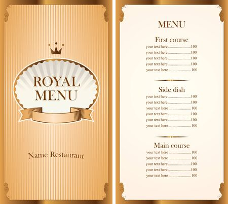 baroque pearl: royal menu for a cafe or restaurant and Price in gold