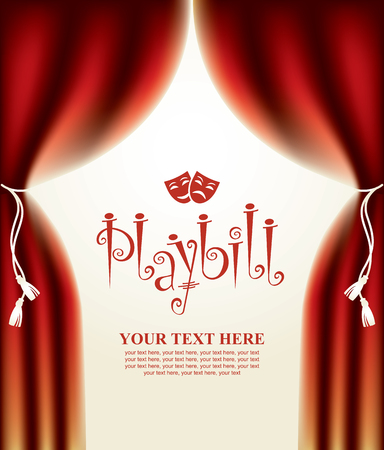 playbill: playbill with scenic scenes and theatrical masks