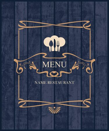 pub food: Cover for restaurant menu with a toque and cutlery on a wooden boards background texture